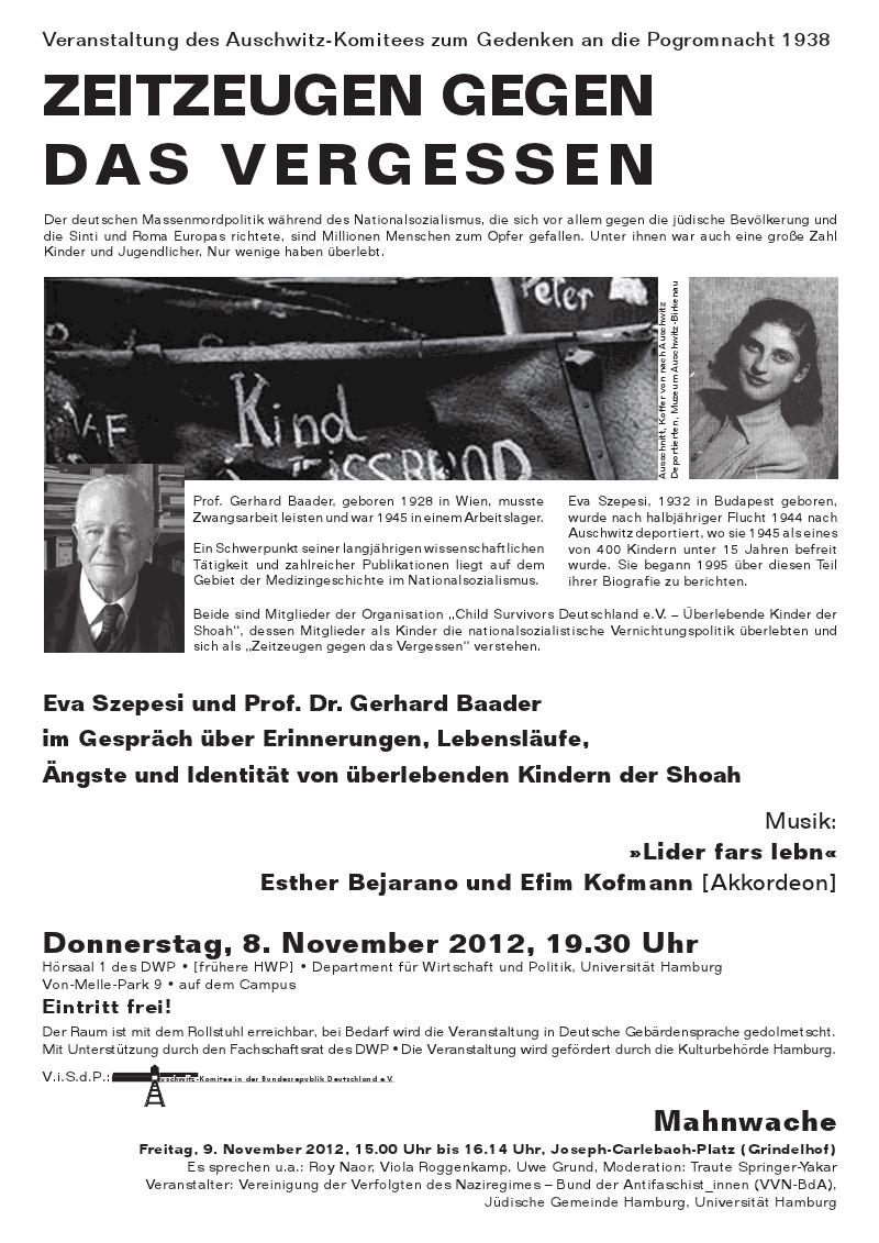 Plakat Auschwitz-Komitee  8. 11.2012